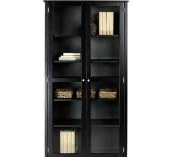 Internet 303584005 2 Home Decorators Collection Oxford Black Glass Door Bookcase