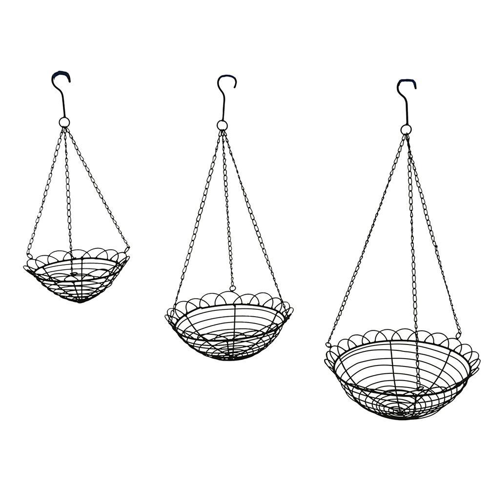 Scallop Edge Metal Wire Hanging Baskets (Set of 3)-BG