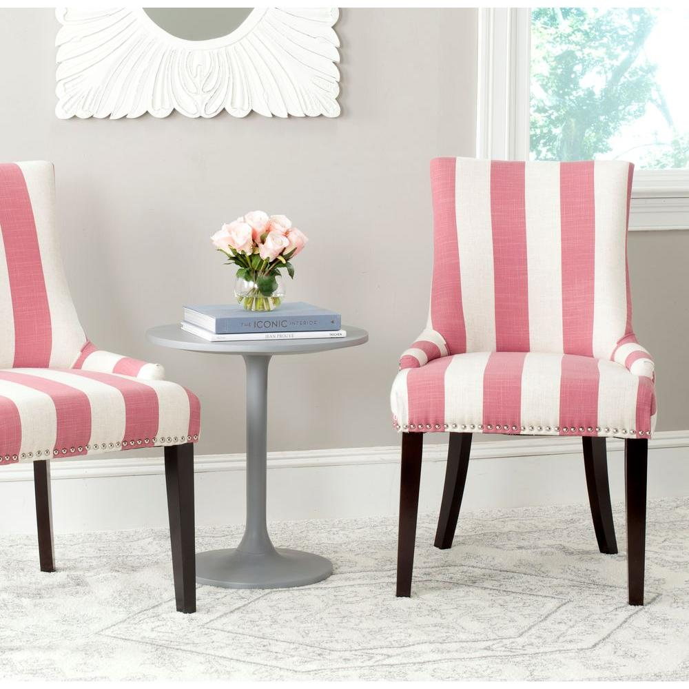 safavieh dining chairs hanging chair gray lester pink and white linen blend set of 2