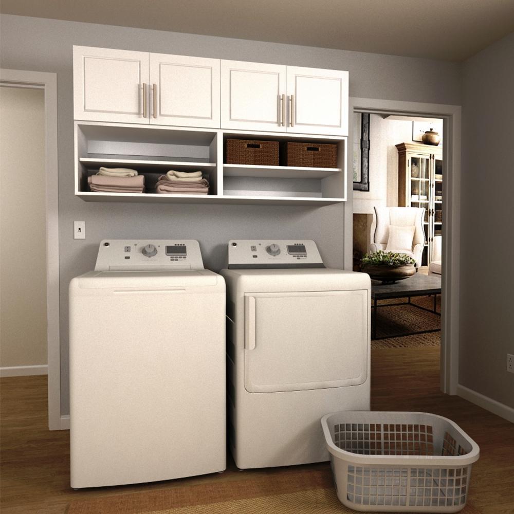 Modifi Madison 60 In W White Open Shelves Laundry Cabinet