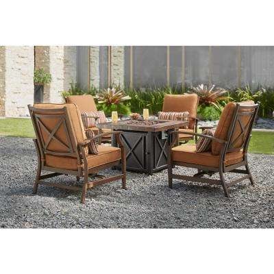 outdoor chair fabric gold bow covers sunbrella patio furniture outdoors the home depot north lake 5 piece fire pit conversation set with spectrum sierra cushions
