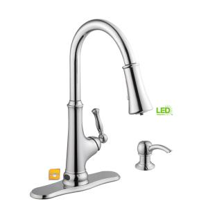 led kitchen faucet sink pendant light glacier bay touchless single handle pull down sprayer with soap dispenser in chrome