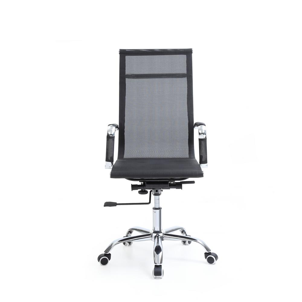 desk chair high compact camping hodedah black mesh back adjustable height swiveling executive with chrome base and arms