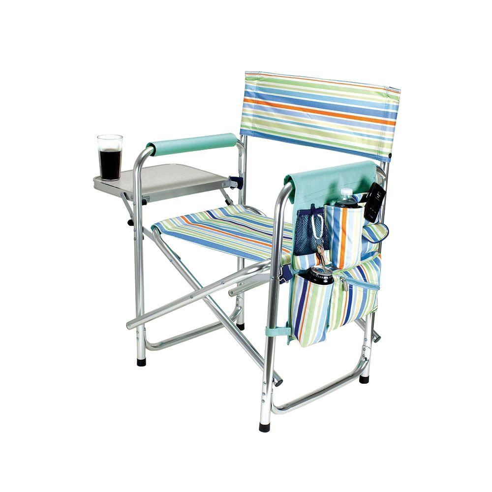 Folding Camp Chair With Side Table Picnic Time St Tropez Collection Sports Portable Folding Patio Chair