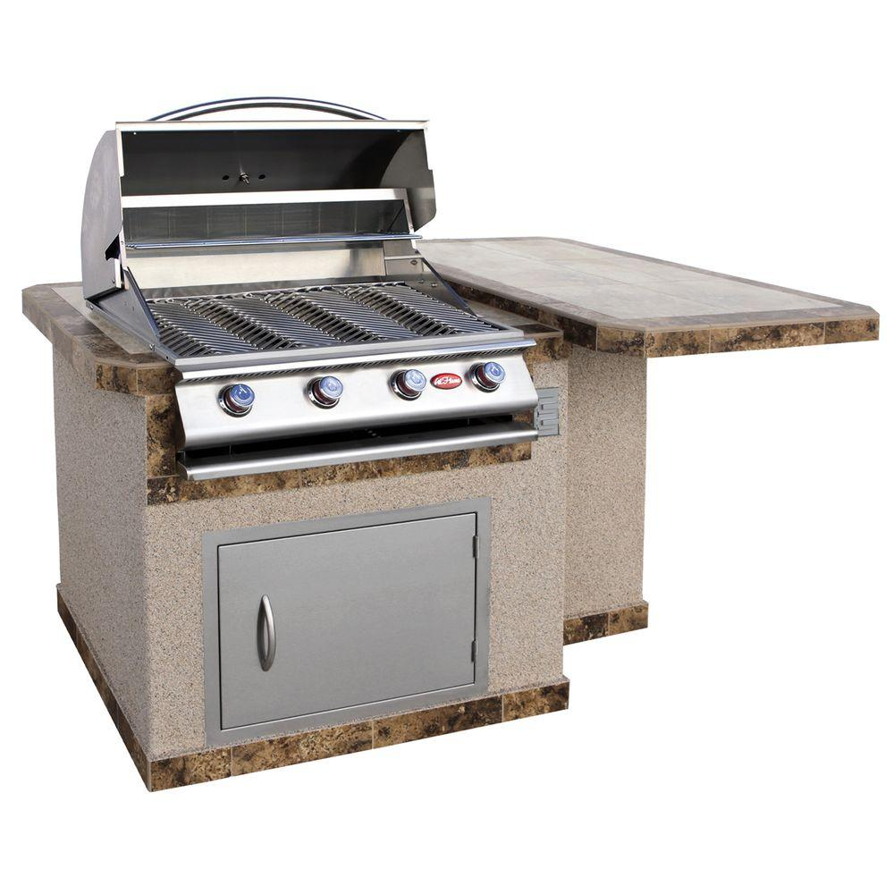 grill kitchen fold up table cal flame 6 ft stucco island with tile top and 4 burner gas in stainless steel