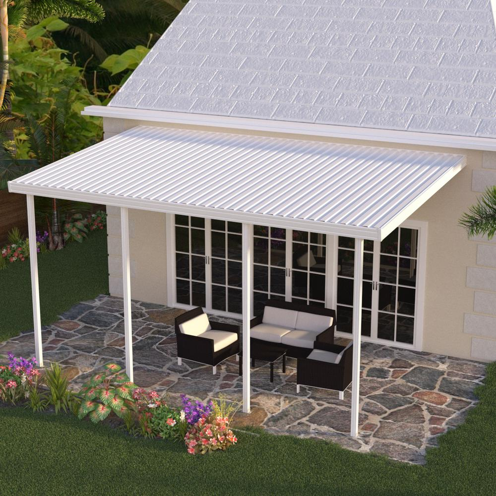 integra 20 ft. x 10 ft. white aluminum attached solid patio cover with 4  posts (20 lbs. live load)