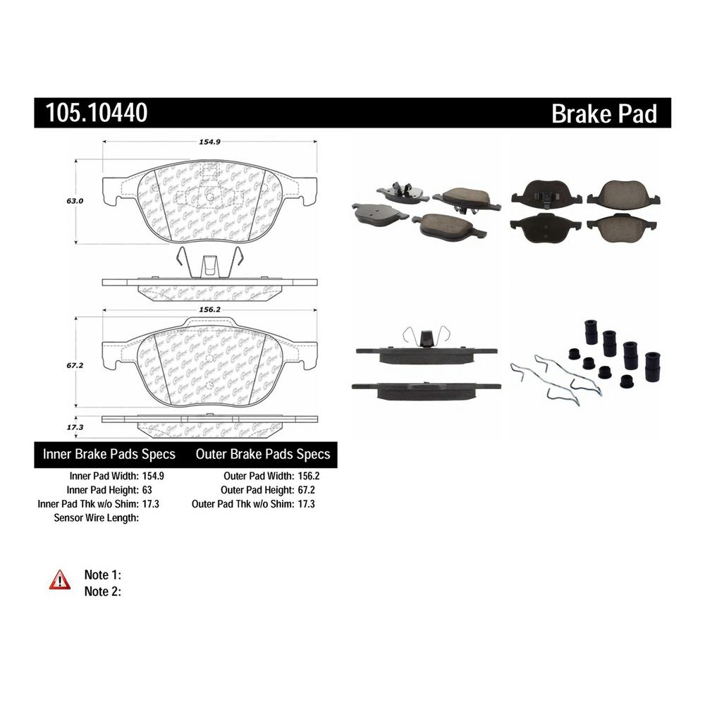 hight resolution of centric disc brake pad set 105 10440 the home depot 1976 ford brake switch diagram