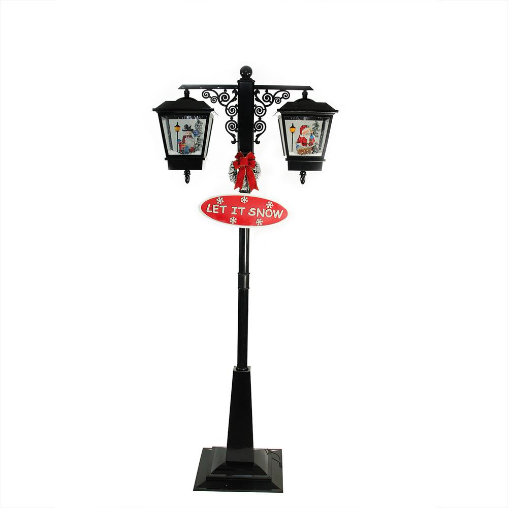 Northlight 74 in. Christmas Lighted Black Musical Snowing