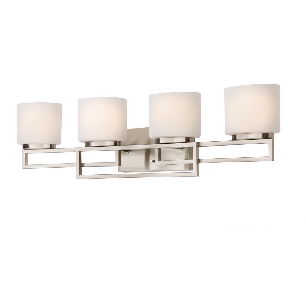 medium resolution of hampton bay 4 light brushed nickel bathroom vanity light with opal glass shades