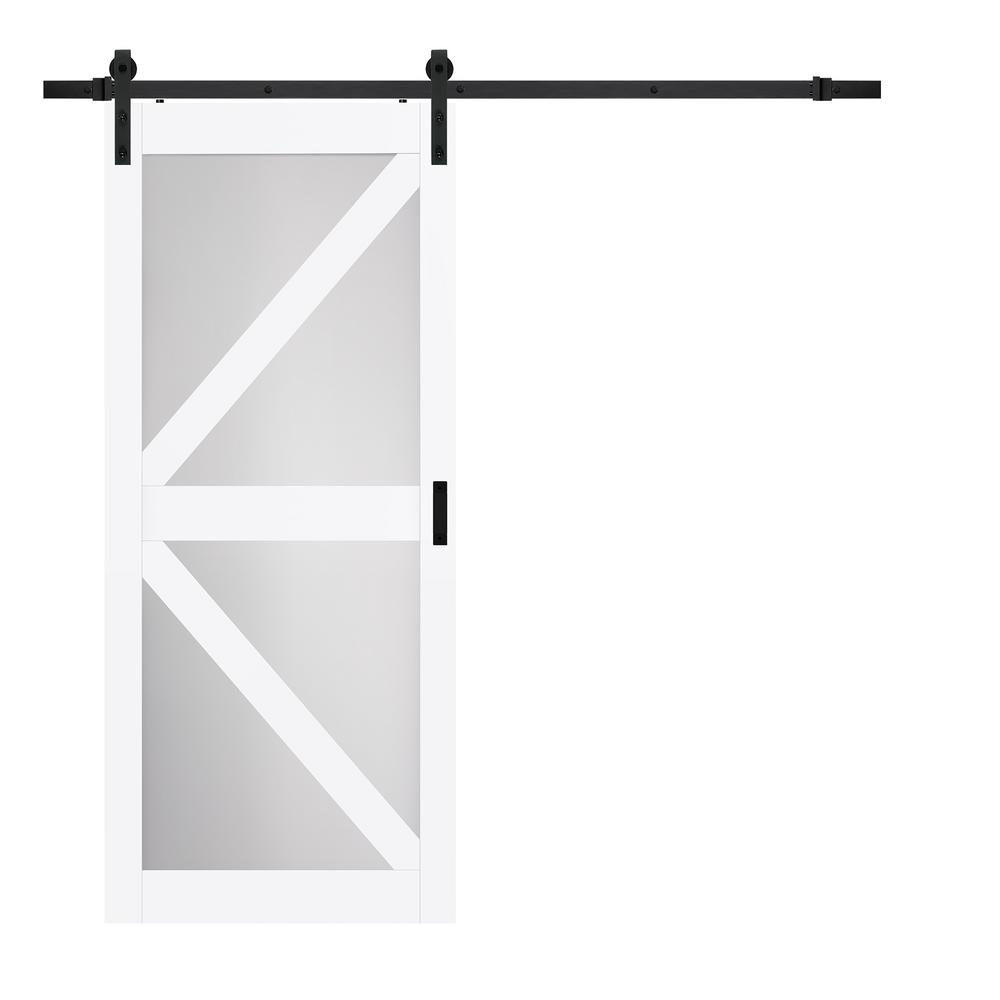 TRUporte 36 in. x 84 in. Bright White MDF Frosted Glass K
