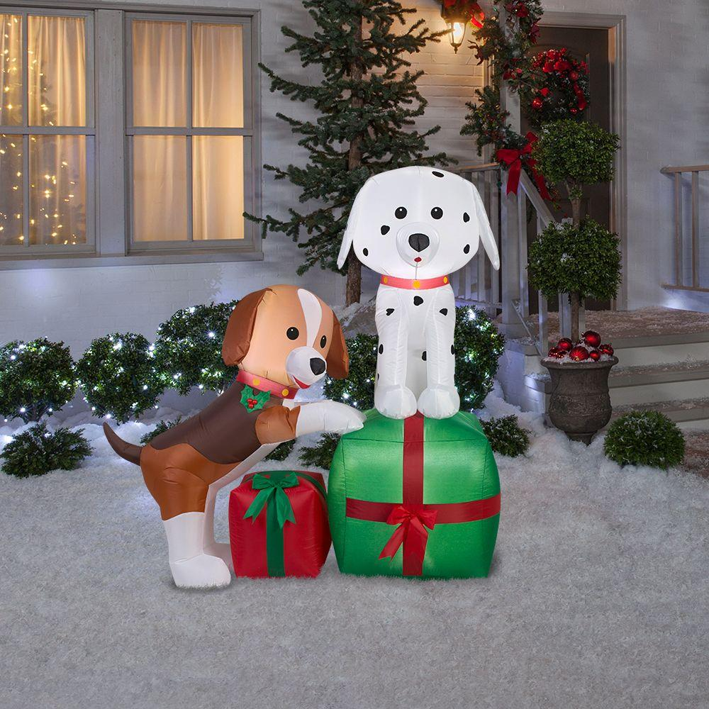 Gemmy Lighted Dog Outdoor Christmas Decoration With White