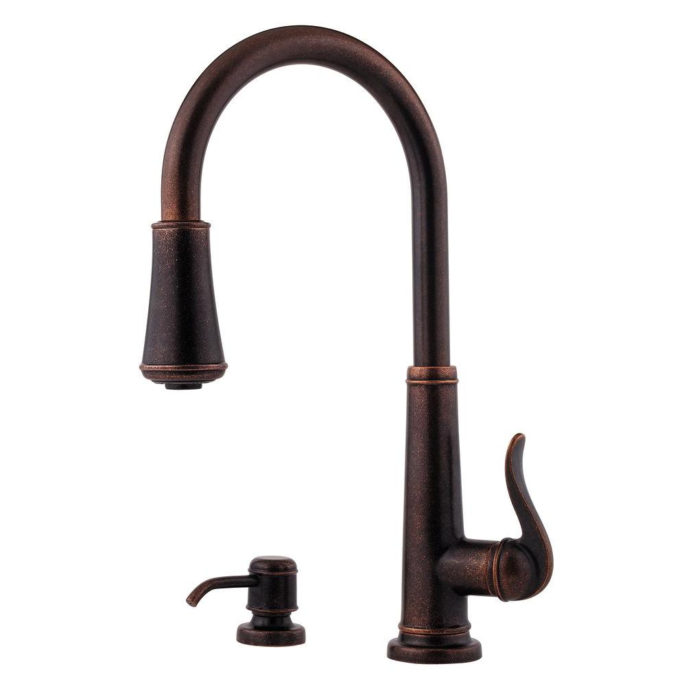 bronze kitchen faucet pull down modular pfister ashfield single handle sprayer in rustic