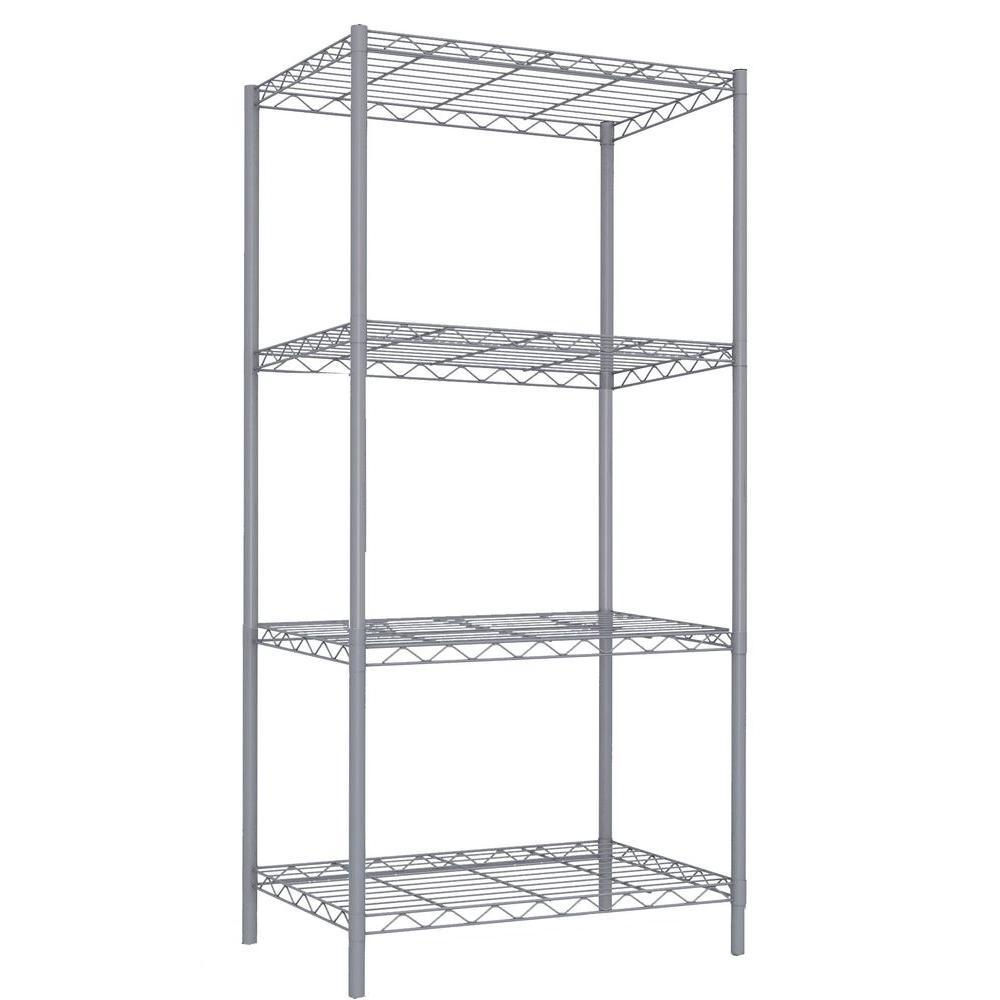 Home Basics 4-Tier 46.5 in. Steel Wire Shelf Gray-WS00691