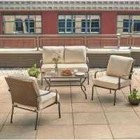 Hampton Bay Pin Oak 4-Piece Wicker Patio Conversation Set ...