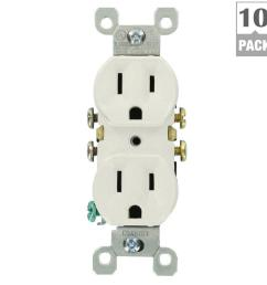 leviton 15 amp residential grade grounding duplex outlet white 10 pack  [ 1000 x 1000 Pixel ]