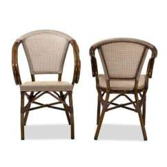 Bamboo Dining Chair Recovering Patio Cushions Side Chairs Kitchen Room Artus Beige Set Of 2