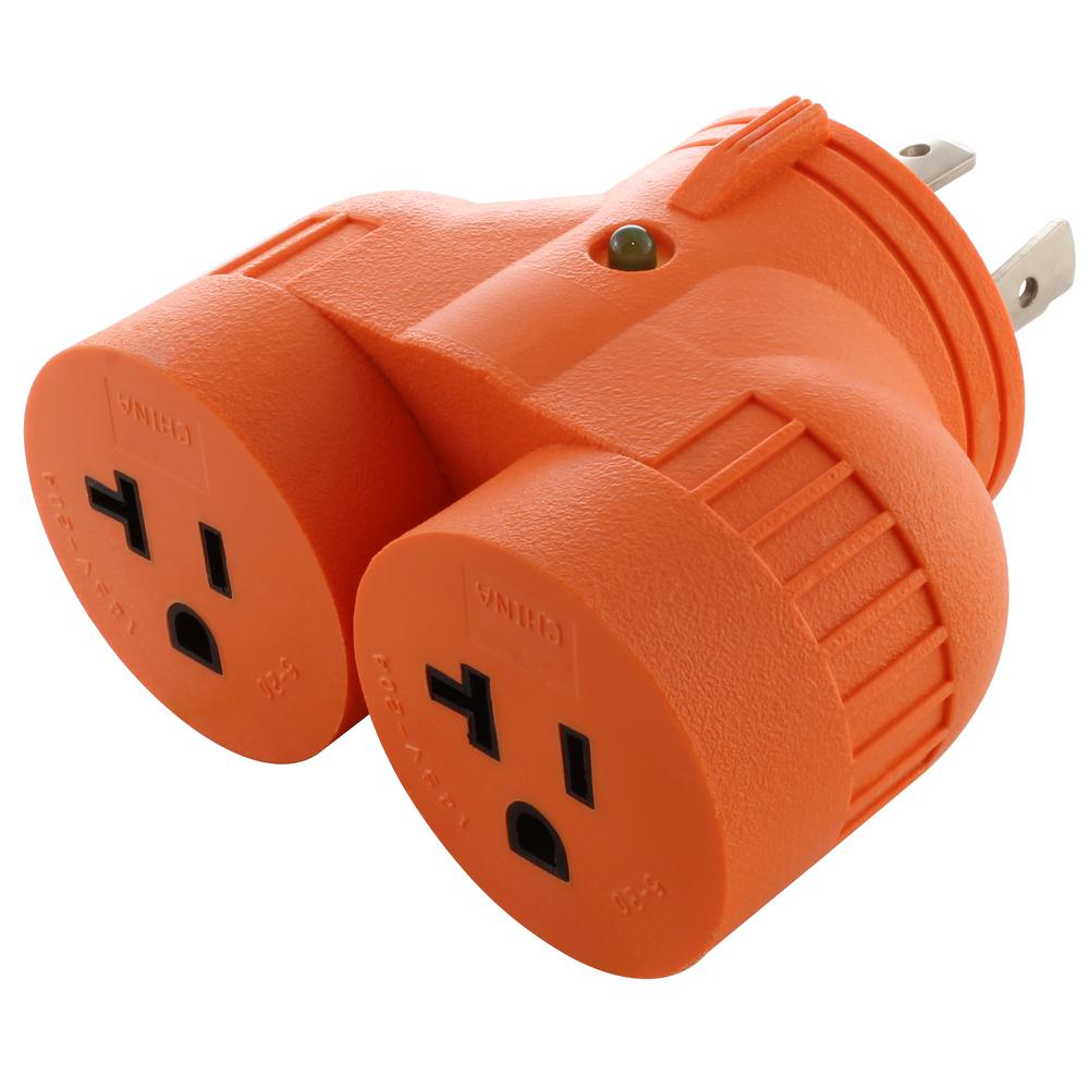 hight resolution of ac works v duo adapter l14 30p 30 amp 4 prong locking plug to 2 15 amp 20 amp household outlets advl1430520 the home depot