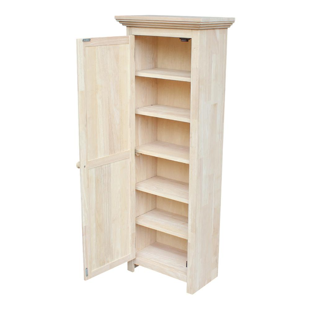 Unfinished Wood Storage Cabinet Tall Classic Shelving Unit