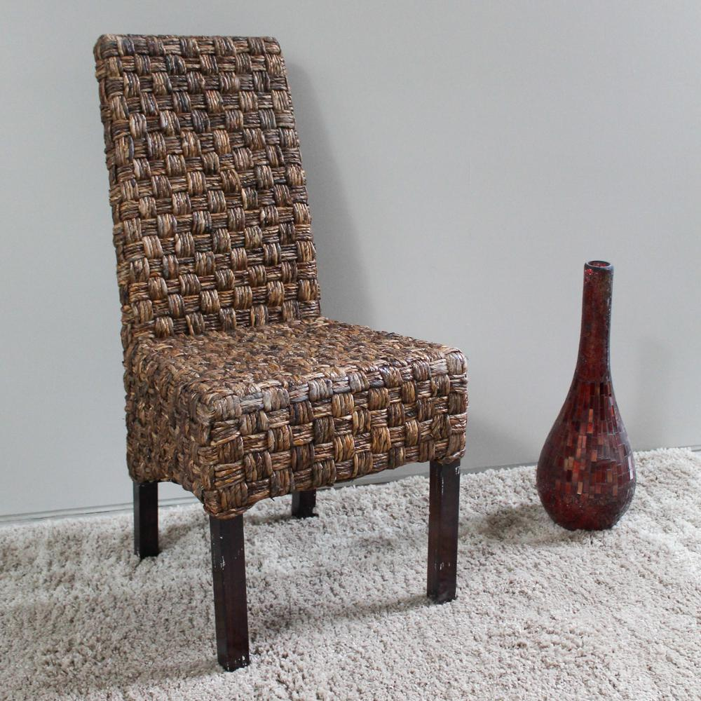 basket weave dining chairs universal chair covers ebay victor abaca with mahogany hardwood frame set of 2