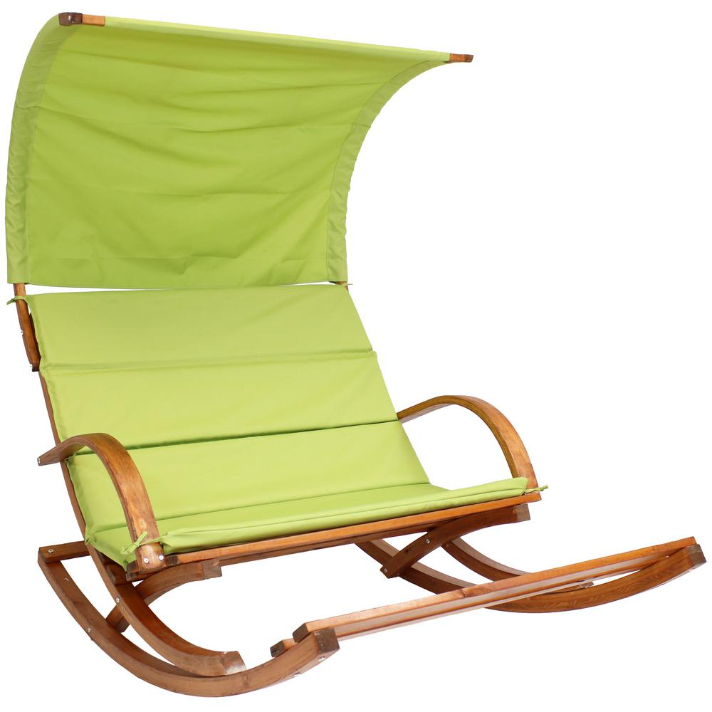 Lime Green Chairs Sunnydaze Decor Outdoor 2 Person Wooden Rocking Chair Cushioned Loveseat With Foot Rest And Canopy In Lime Green