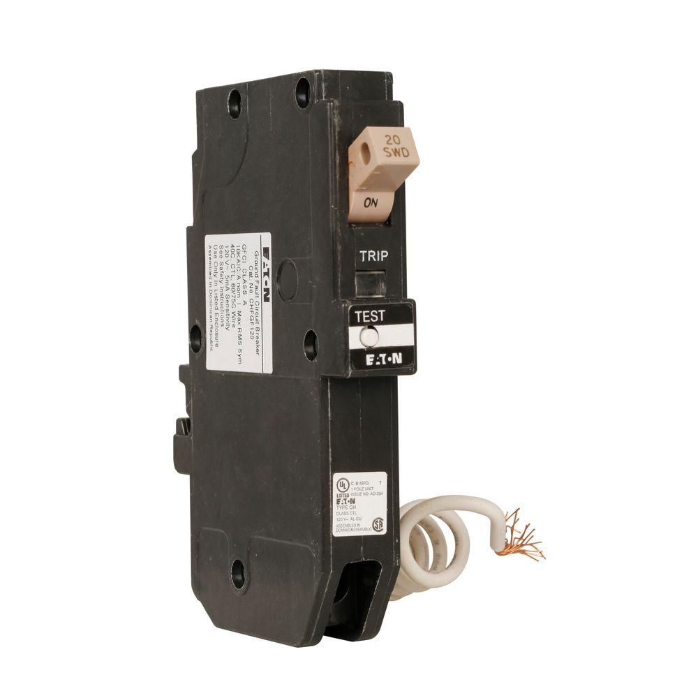 hight resolution of ch 20 amp 1 pole self test ground fault circuit breaker with trip flag