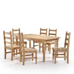 6 Chair Dining Set Swivel Singapore Manhattan Comfort Jay 7 Piece Nature Solid Wood With Chairs And