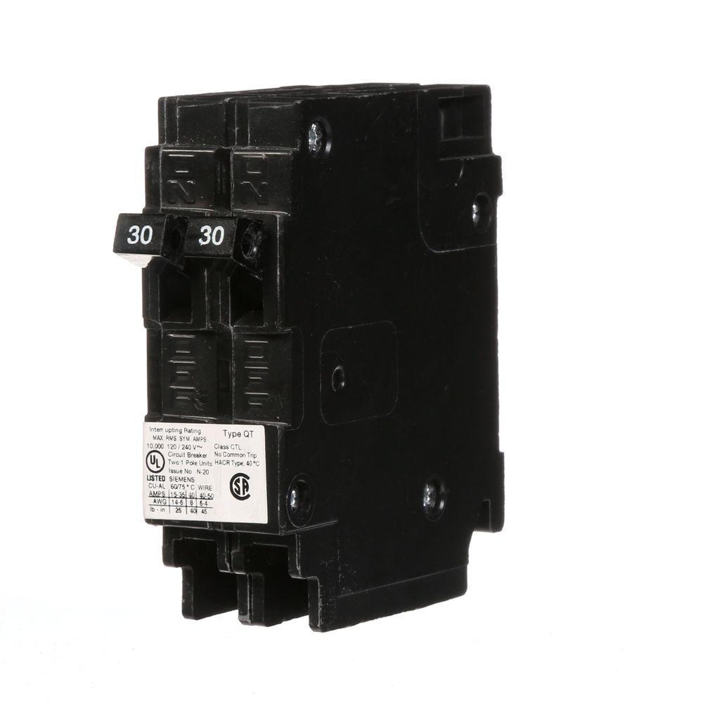 hight resolution of siemens 2 30 amp single pole type qt tandem circuit breaker q3030 30 amp split breaker wiring diagram