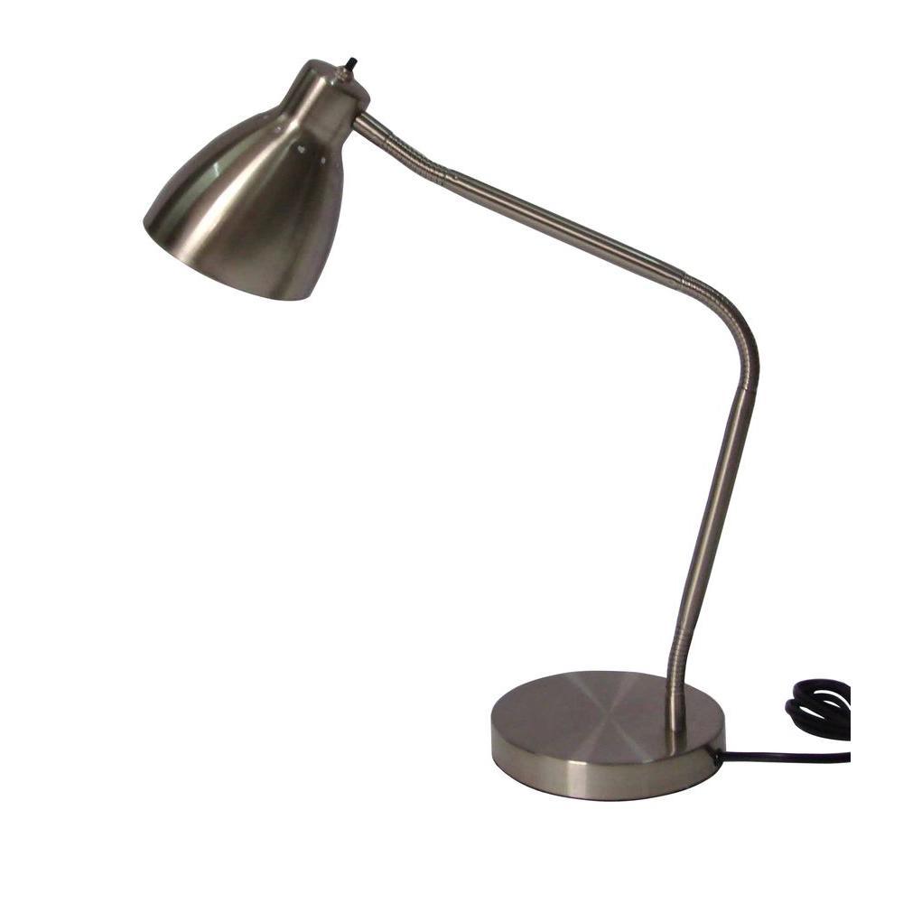 Adesso 27.5 in. Satin Steel Gooseneck Desk Lamp