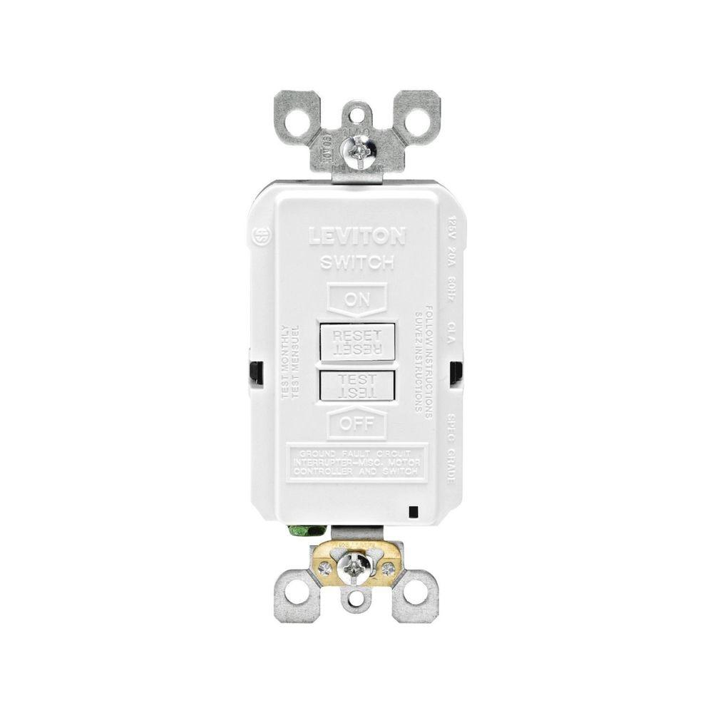 hight resolution of leviton 20 amp 125 volt combo self test blank face gfci outlet white