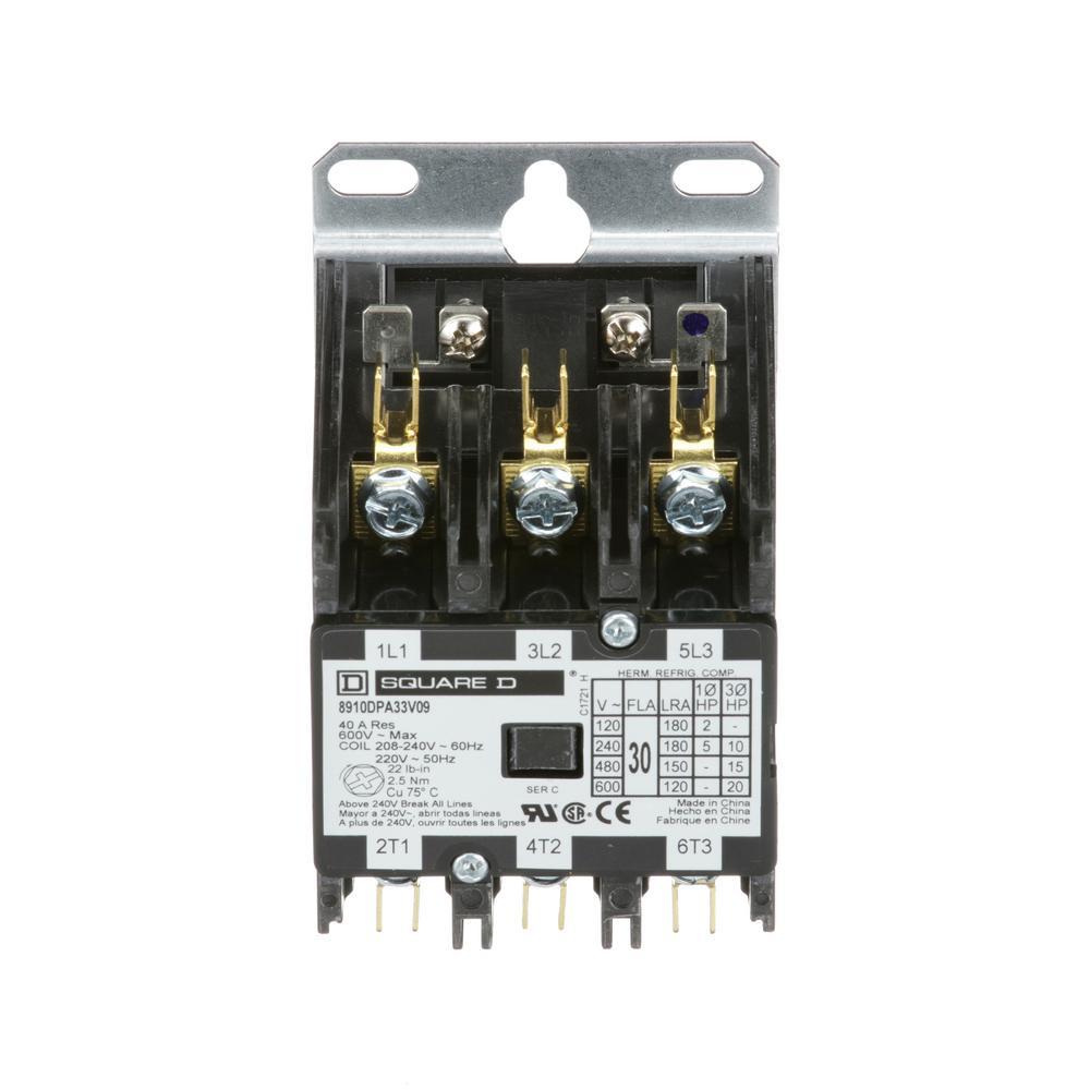 medium resolution of 30 amp 208 240 volt ac 3 pole definite purpose contactor 20 pack
