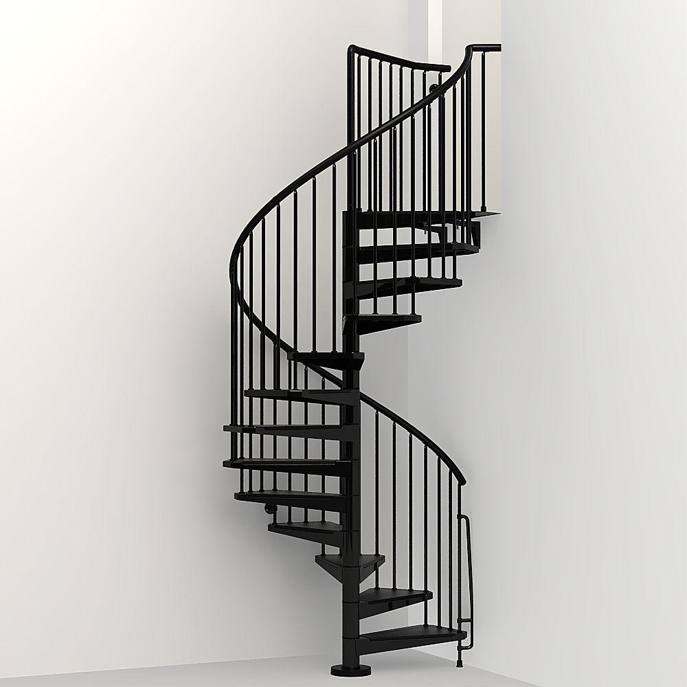 Arke Civik 55 In Black Spiral Staircase Kit K03018 The Home Depot | 12 Foot Spiral Staircase | Lowes | Stair Treads | Black Spiral | Steel | Gray Interior
