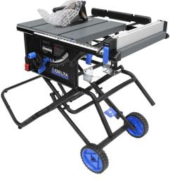 left tilt portable jobsite table saw with rolling stand [ 1000 x 1000 Pixel ]