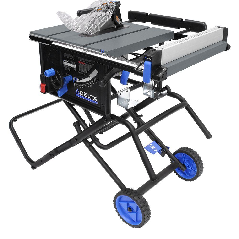 medium resolution of left tilt portable jobsite table saw with rolling stand
