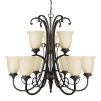 Globe Electric Beverly 9-Light Chandelier with Amber Glass ...
