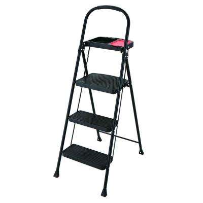 kitchen ladder aid attachments household utility the home depot 3 step steel stool with project tray 225 lb load capacity type ii