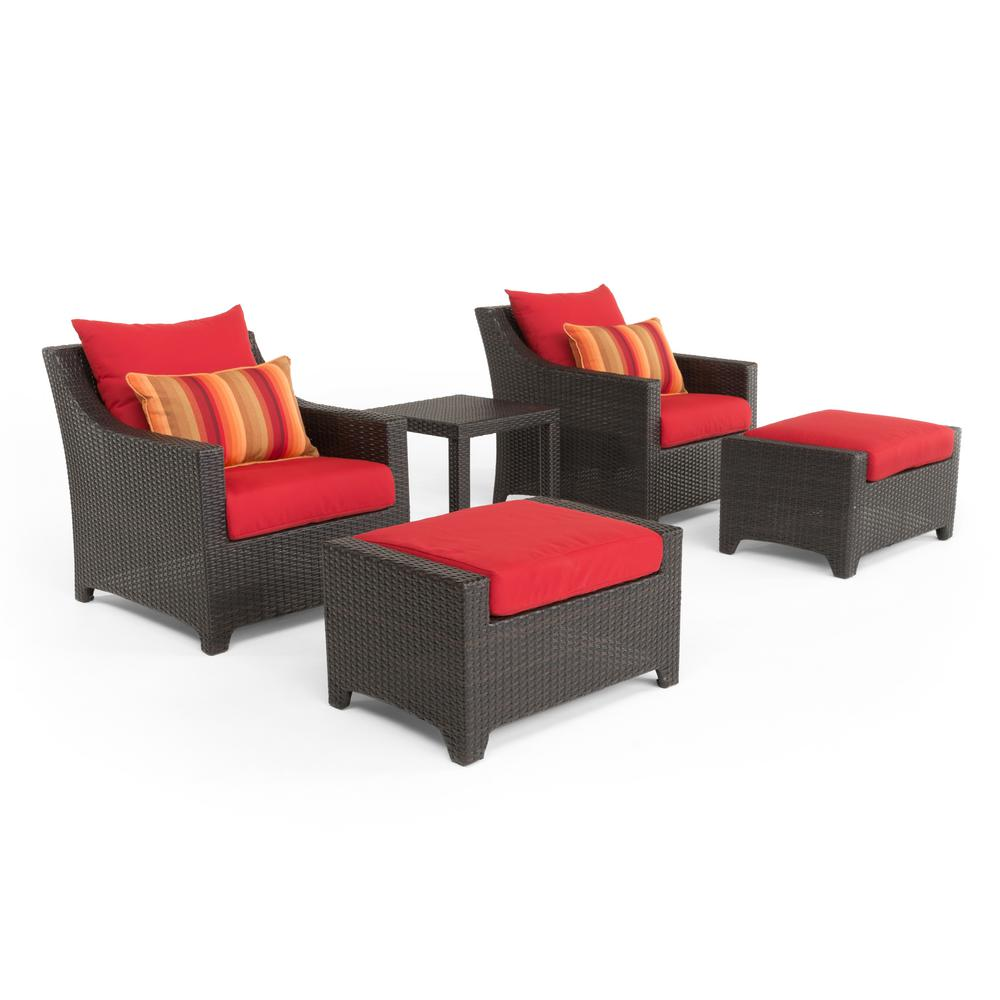 Chair And Ottoman Set Rst Brands Deco 5 Piece All Weather Wicker Patio Club Chair And Ottoman Seating Set With Sunset Red Cushions