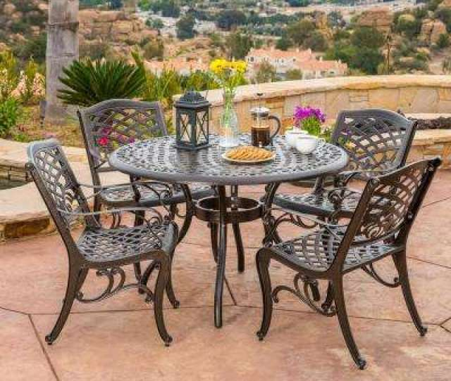 Sarasota Bronze  Piece Aluminum Circular Outdoor Dining Set