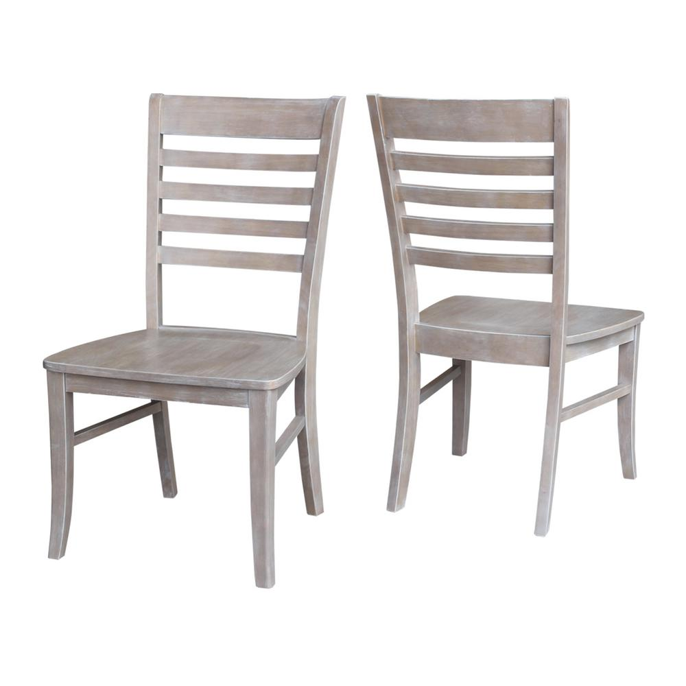 solid wood chairs lounge chair covers international concepts milan weathered taupe gray dining set of 2