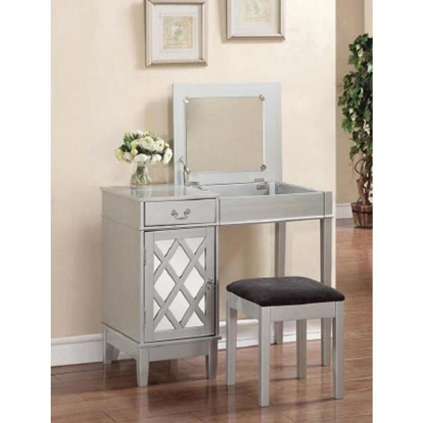 Linon Home Decor 2-piece Silver Vanity Set-58036sil-01-kd-u - Depot