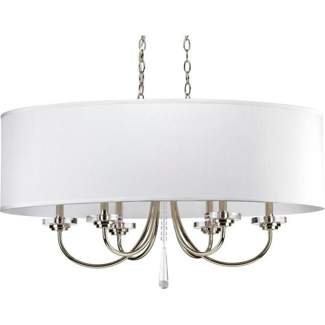 Progress Lighting Nisse Collection 6 Light Polished Nickel Chandelier With Shade Off White Silk P4431 104 The Home Depot