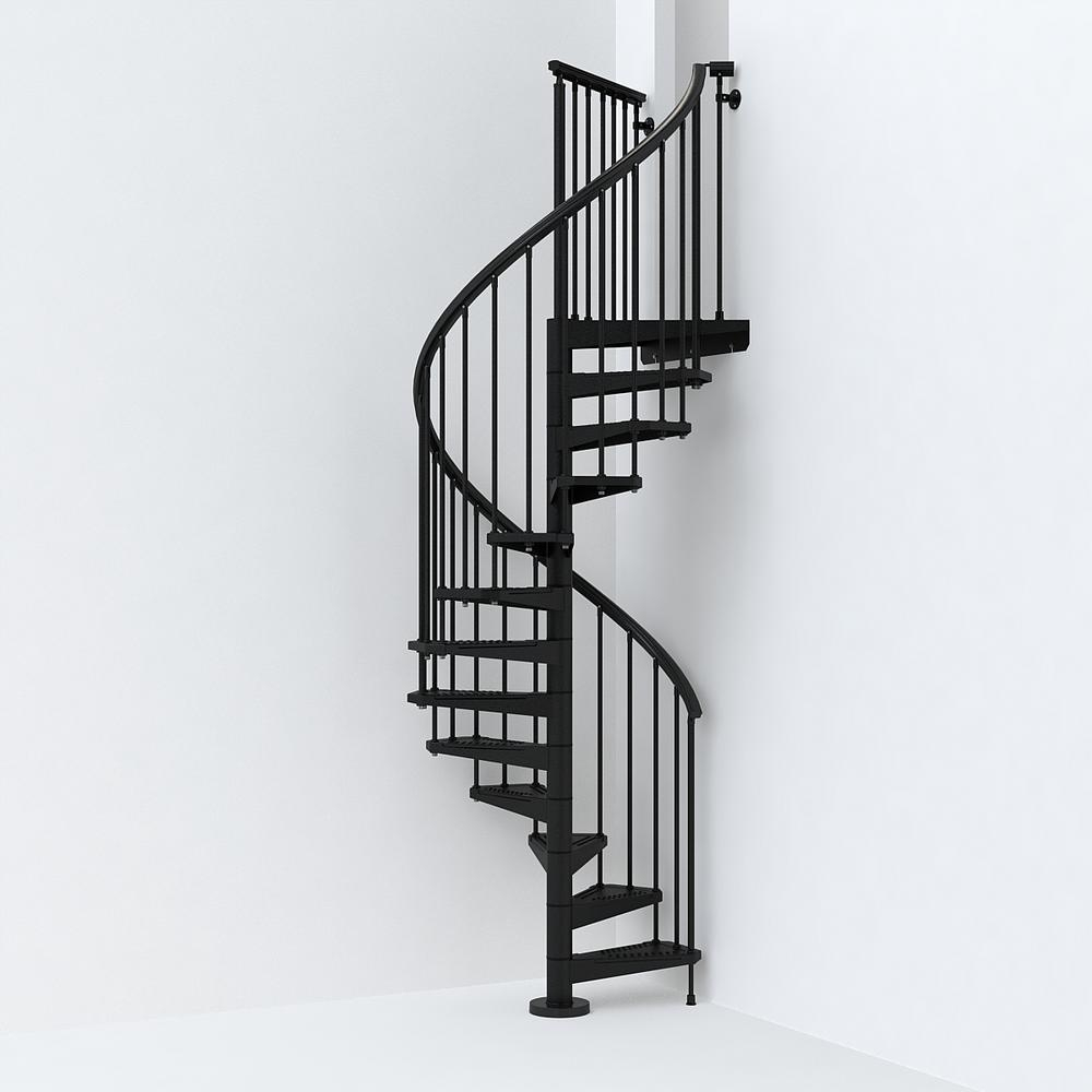 Sky030 47 In Black Spiral Staircase Kit K26284 The Home Depot | Used Metal Spiral Staircase For Sale | Stair Parts | Cast Iron | Foshan Demose | Wrought Iron | Stair Case