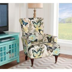 Upholstered Kitchen Chairs With Casters Craftsman Style Cabinet Doors Linon Home Decor Junnell Botanical Print Polyester Arm ...