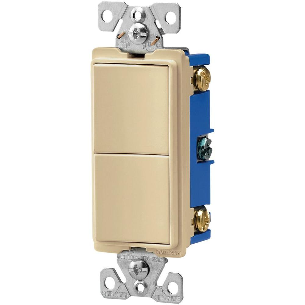 medium resolution of 15 amp 120 volt 3 way decorator 2 single pole combination switches ivory