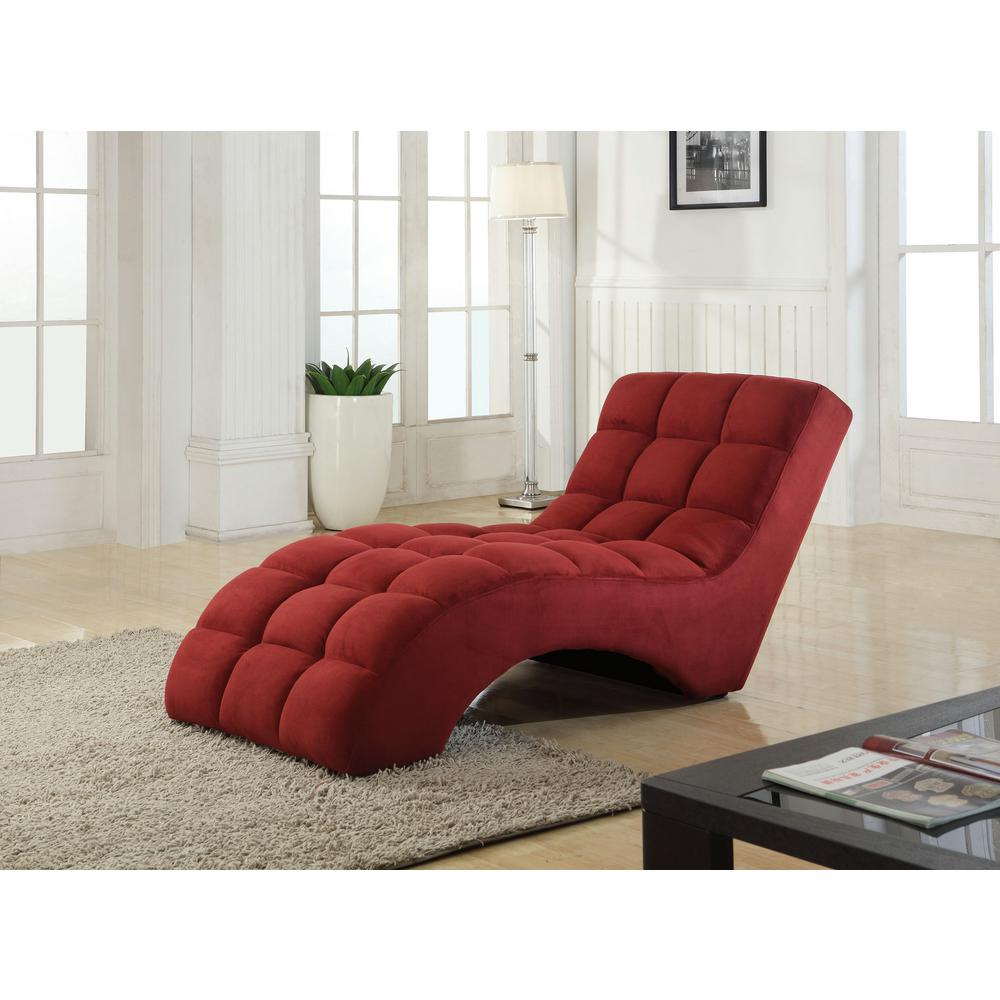 Floor Lounge Chair Red Tufted Chaise Lounge Chair