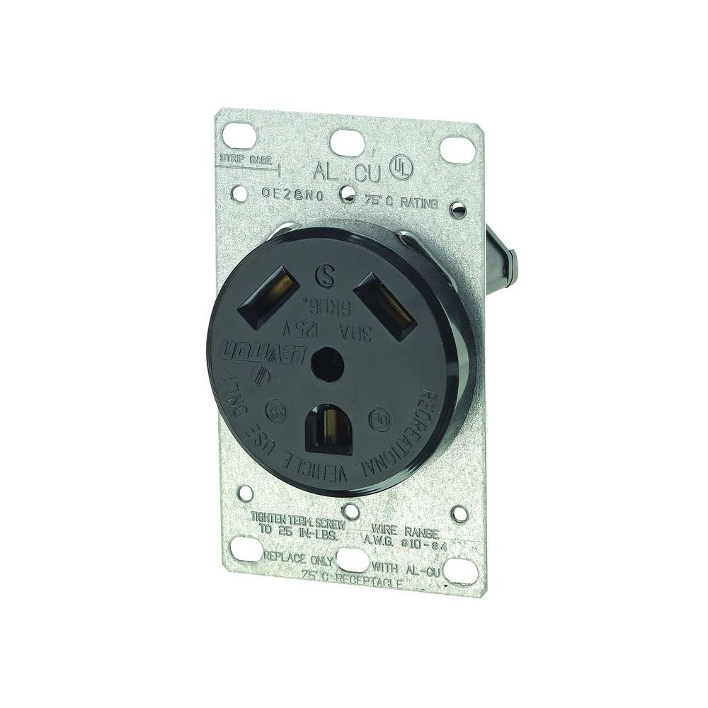 hight resolution of black leviton outlets receptacles r50 07313 000 64 1000 leviton 30 amp flush mount power single outlet