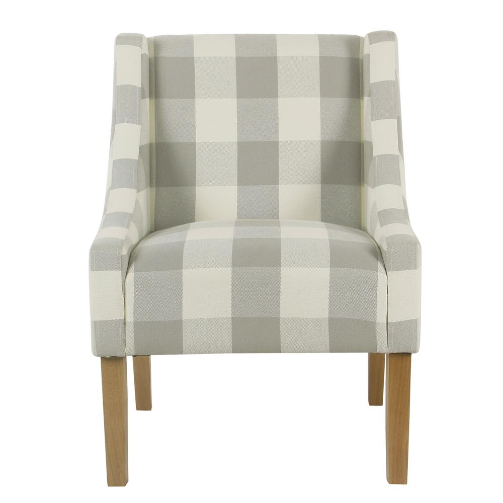 accent chairs with arms chair for back pain relief india homepop gray buffalo plaid modern swoop arm k6908 f2270