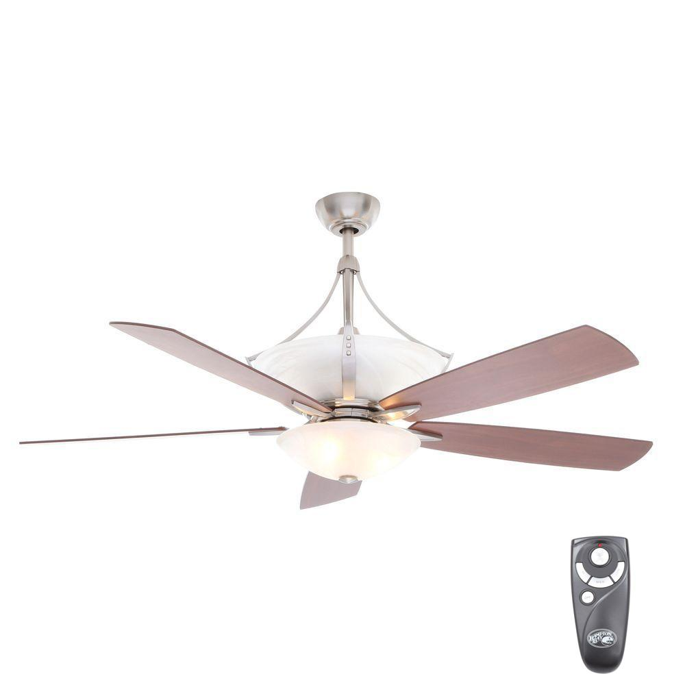 Indoor Brushed Nickel Ceiling Fan With Light Kit And