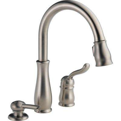 3 piece kitchen faucet cabinet painting cost 2 or hole faucets the home depot leland single handle pull down sprayer with soap dispenser and magnatite docking