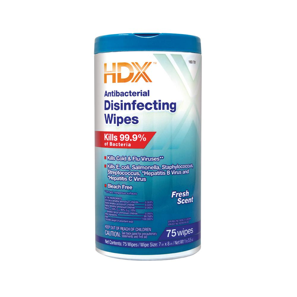 HDX Fresh Scented Antibacterial Disinfecting Wipes (75 ...