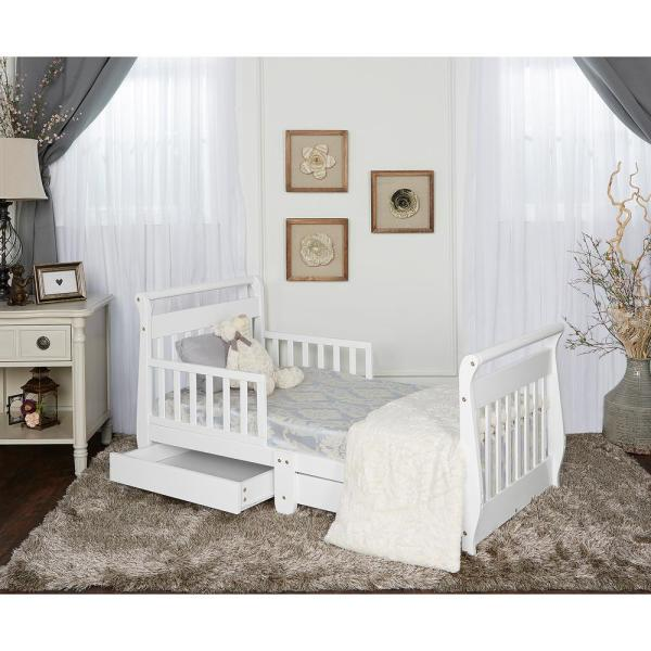 Dream White Toddler Adjustable Sleigh Bed With Storage Drawer-643- - Home Depot
